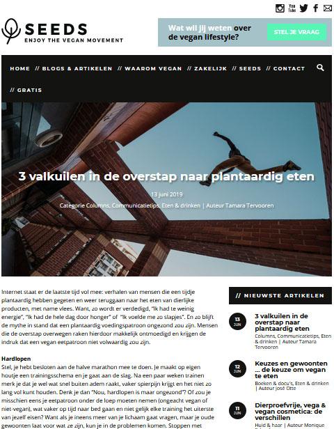 Screenshot blog op Seeds
