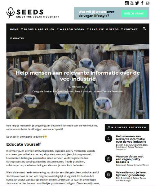 Screenshot Seeds blog - Help mensen aan relevante informatie over de vee-industrie